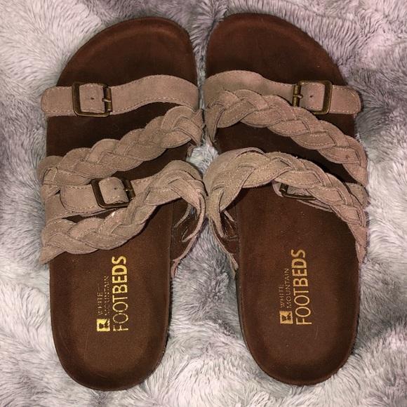 White Mountain Shoes - Tan braided sandals